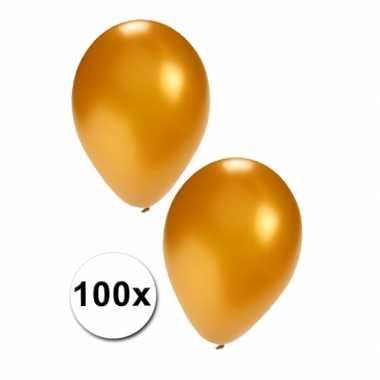 100 carnavals ballonnen in goudkleur