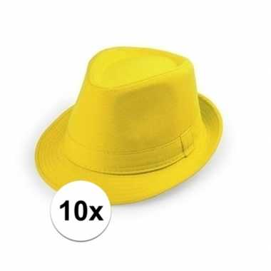 10x goedkope gele verkleed hoedjes voor volwassenen