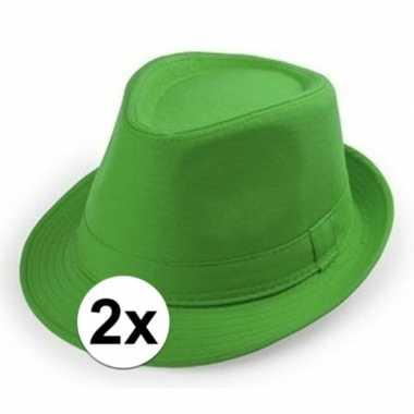 2x goedkope groene verkleed hoedjes voor volwassenen
