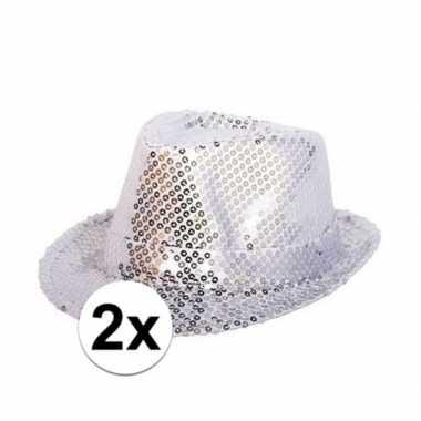2x party hoedjes met zilveren pailletten