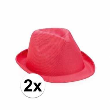 2x roze trilby hoedje voor volwassenen