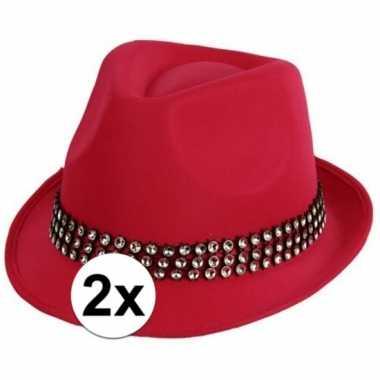 2x voordelige roze hoed met zilveren steentjes