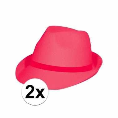 2x voordelige roze/pink party hoedjes