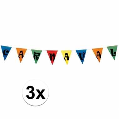3x carnaval vlaggen 10 meter