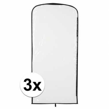 3x carnavalskleding opberghoes transparant 95 x 42 cm