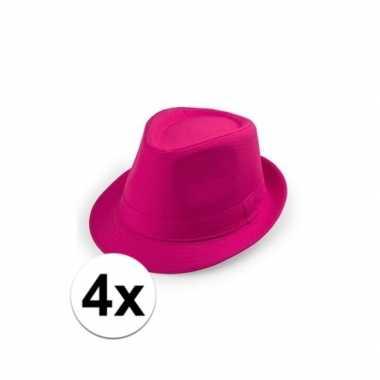 4x voordelige roze trilby hoedjes
