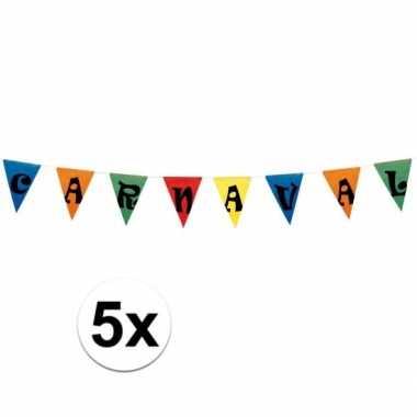 5x carnaval vlaggen 10 meter