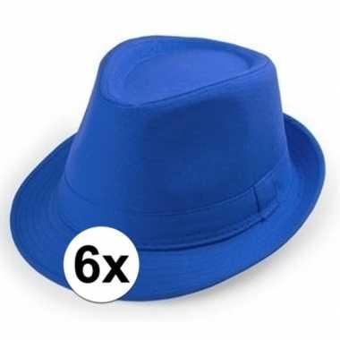 6x goedkope blauwe verkleed hoedjes voor volwassenen