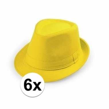 6x goedkope gele verkleed hoedjes voor volwassenen