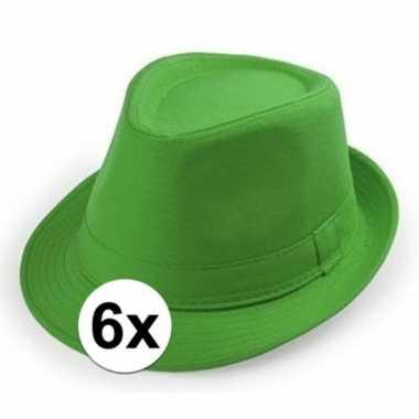 6x goedkope groene verkleed hoedjes voor volwassenen