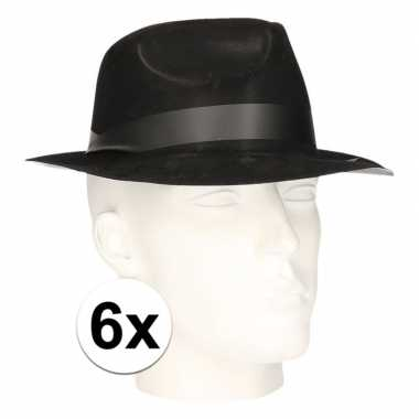 6x polyester zwart gleufhoedjes voor volwassenen