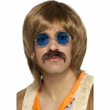 Abba heren verkleed pruik snor en bril setje voor heren