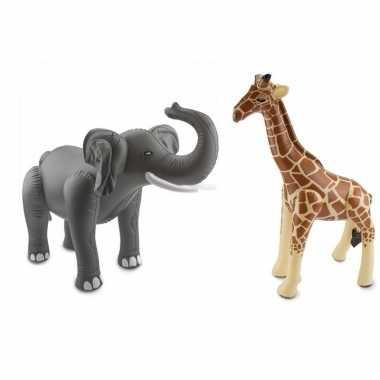 Afrika thema set olifant en giraffe opblaas baar