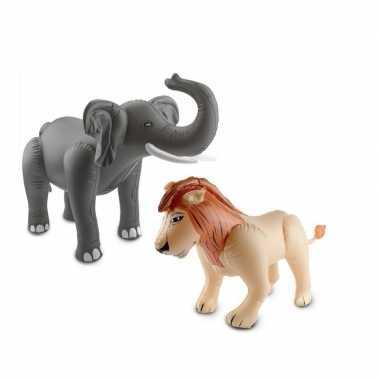 Afrika thema set olifant en leeuw opblaas baar