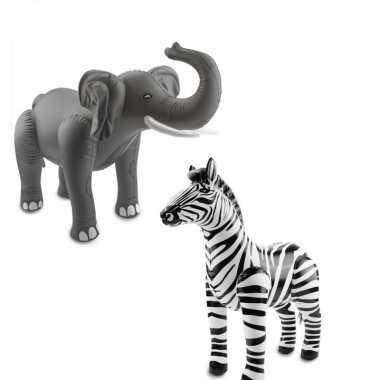 Afrika thema set olifant en zebra opblaas baar