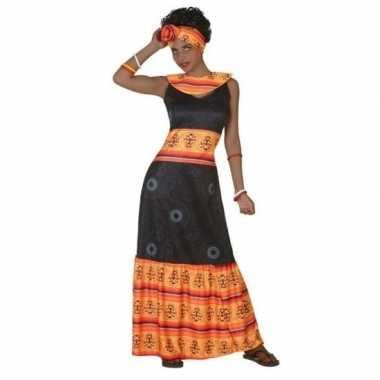 Afrikaanse jurk verkleed carnavalskleding zwart/oranje voor dames