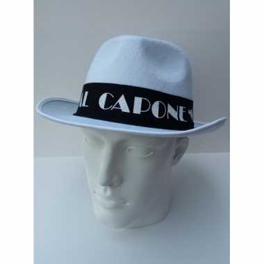 Al capone hoed wit met zwarte band