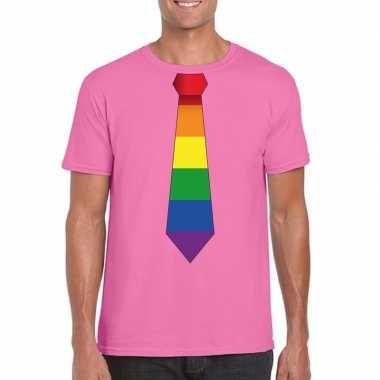 Azalea roze t shirt met regenboog vlag stropdas heren