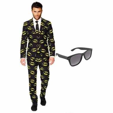 Batman heren carnavalskleding maat 56 (xxxl) met gratis zonnebril