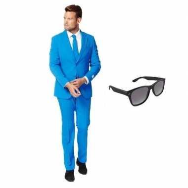 Blauw heren carnavalskleding maat 50 (l) met gratis zonnebril