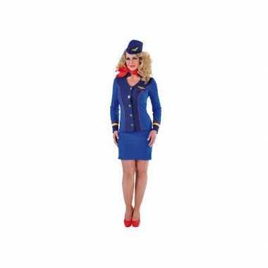 Blauw klm mantelpakje voor dames