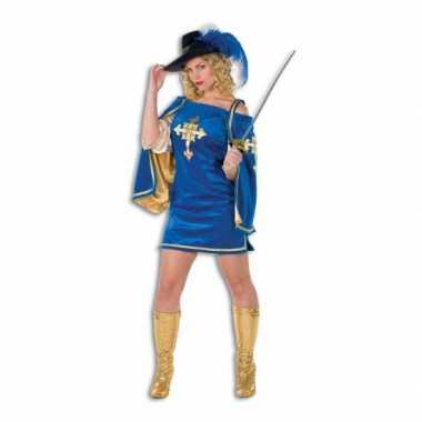 Blauw musketier verkleed pak