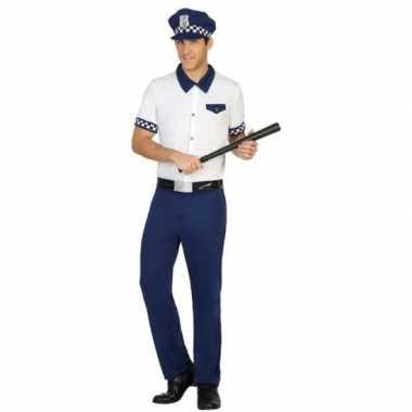 Blauw/wit politie verkleed pak/carnavalskleding voor heren