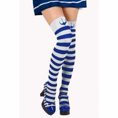 Blauw/witte matroos kousen verkleed accessoire voor dames