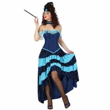 Blauwe burlesque verkleedjurk
