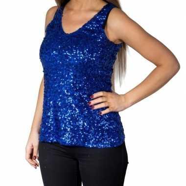 Blauwe glitter pailletten disco topje/ mouwloos shirt dames
