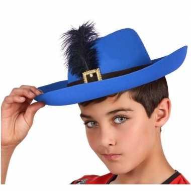 Blauwe musketier verkleed hoed voor kinderen