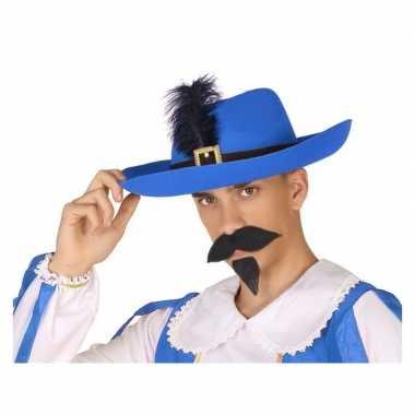 Blauwe musketier verkleed hoed voor volwassenen