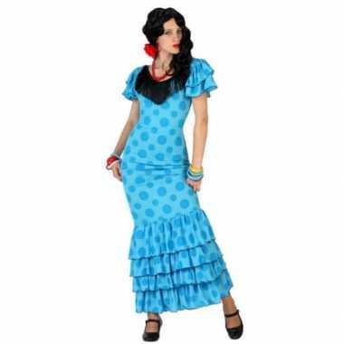 Blauwe spaanse carnavalskleding jurk