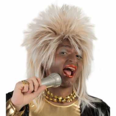 Blonde drag queen rock star verkleedpruik