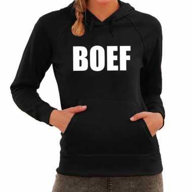 Boef tekst hoodie zwart dames