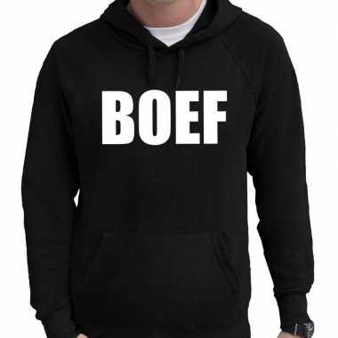 Boef tekst hoodie zwart voor heren