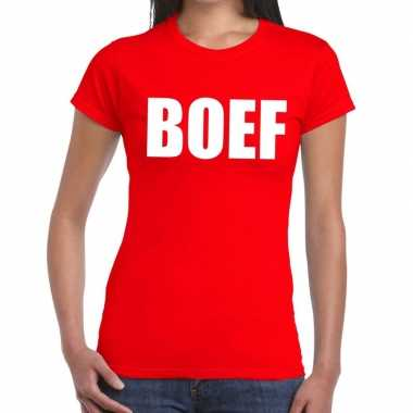 Boef tekst t shirt rood dames