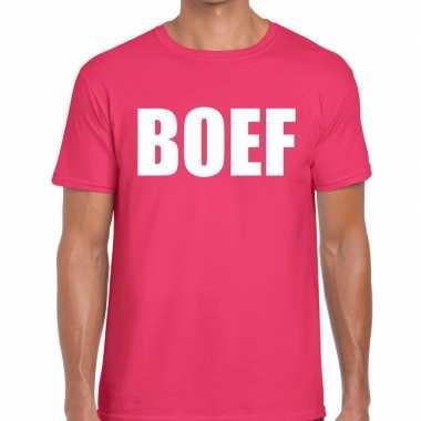 Boef tekst t shirt roze heren