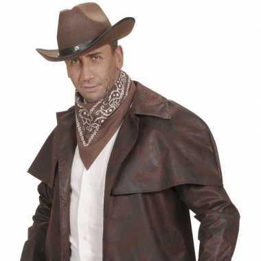 Bruine cowboy bandana zakdoek 55 x 55 cm