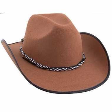 Bruine cowboyhoeden met koord