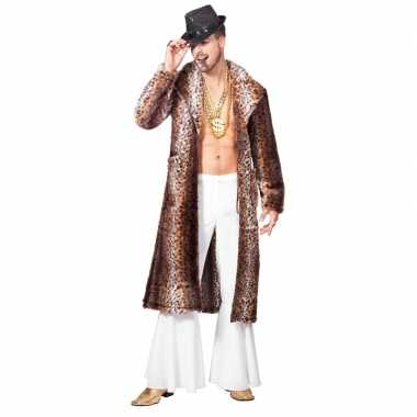 Bruine pimp/pooier verkleed jas voor heren