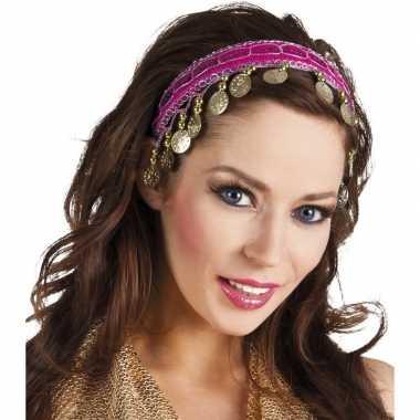 Buikdanseres hoofdband/diadeem fuchsia roze dames verkleedaccess