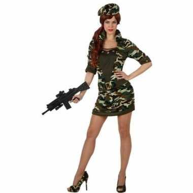 Camouflage soldaat verkleed carnavalskleding/jurk voor dames