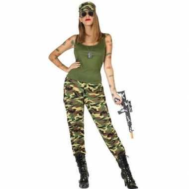 Camouflage soldaat verkleed pak/carnavalskleding voor dames