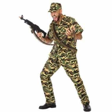 Camouflage soldaat verkleed pak/carnavalskleding voor heren