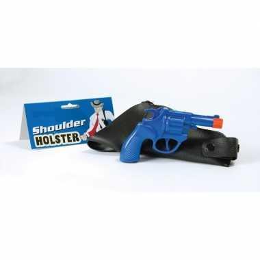 Carnaval accessoires pistool blauw 22 cm 10106332