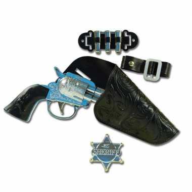 Carnaval accessoires pistool met holster en sheriff badge