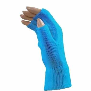 Carnaval blauwe polsjes/handschoenen vingerloos voor volwassenen