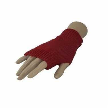 Carnaval vingerloze handschoenen rood voor volwassenen