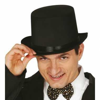 Carnavals luxe hoge hoed zwart